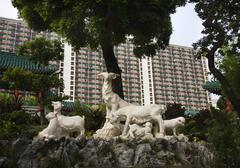 Goat statue wong tai sin buddhist taoist temple kowloon hong kong Stock Photos