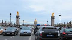 Paris, France - Traffic Pont Alexandre III. Street, avenue, traffic, cars - 41 Stock Footage