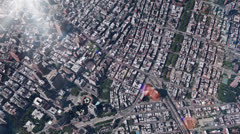 Stock Video Footage of aerial view of New york & sunlight,satellite navigation,spectacular city.