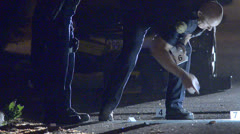 Police collecting evidence 02 - stock footage