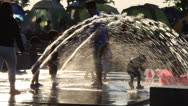 Stock Video Footage of Hot summer scenery : family and water fountains