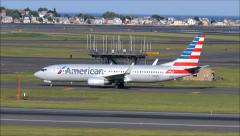 American Airlines new livery airplane taxies Stock Footage