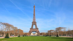 Stock Video Footage of Paris, France - Eiffel Tower - Day Scene 8 - Blue sky. Spring