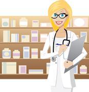 blonde pharmacist - stock illustration