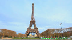 Paris, France. Eiffel Tower. La Tour. Blue sky. Day Scene 9 Stock Footage