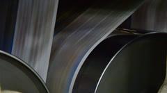 Web offset press printing today's newspaper, large web offset printing press Stock Footage