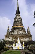 Wat yai chai mongkhol temple of ayuthaya province thailand Stock Photos
