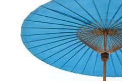 Blue beach umbrella with  sky Stock Photos