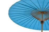 Blue beach umbrella with  sky Stock Photos