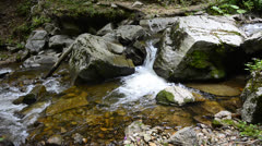Mountain stream, macedonia, ecological clean environment water flow stream in Stock Footage