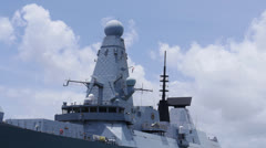 HMS Daring D32 British navy warship destroyer super structures Stock Footage