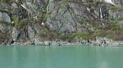 Alaska inside passage iceberg coastal mountain birds fly HD 7274 Stock Footage