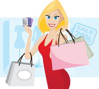Stock Illustration of shopping with credit cards