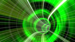 Animated wormhole through space, green Stock Footage