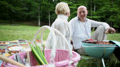 Happy couple cooking bbq in park - stock footage