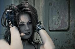 Emo girl with beautiful hair Stock Photos