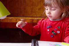 Stock Video Footage of Baby Girls Draws and Colors