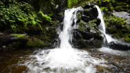 Stock Video Footage of waterfall wide angle subtle dolly, bottom shoot panning