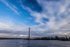 Timelapse of Fleher Bridge over Rhine Stock Footage