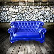 interior grunge room with classic sofa - stock photo