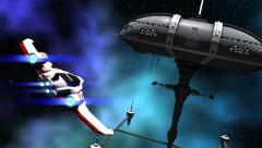 Animation of a futuristic space ship and warriors - stock footage