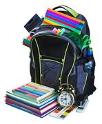Backpack for school stationery learning isolated Stock Photos