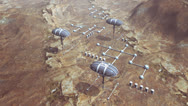 Stock Video Footage of Animation of space colony on planet Mars