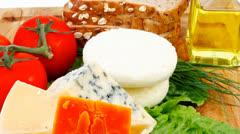 Roquefort with cheddar parmesan and soft feta cheese Stock Footage