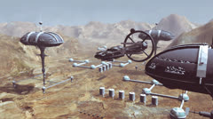 Spaceship take off from Mars colony - stock footage