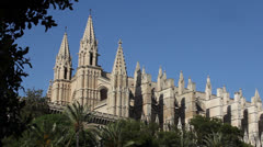 View of the Cathedral in Palma de Mallorca Stock Footage