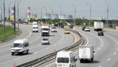 The busy highway M4 in the outskirts of Moscow. Stock Footage
