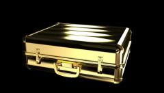 Gold suitcase Stock Footage