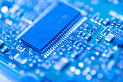 integrated circuit close up - stock photo
