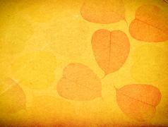 Leaves skeletons over paper gold background Stock Illustration