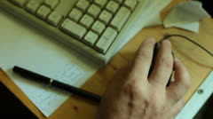 Male Hand Operates Mouse and Keyboard - stock footage