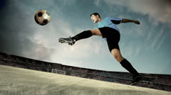 Timelapse view of soccer goalman in jump with traditional ball Stock Footage