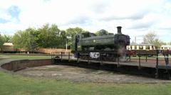 Vintage Steam Train Turning on Turntable Stock Footage