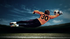 Timelapse view of soccer goalman in jump with traditional Stock Footage
