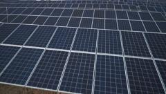 Stock Video Footage of solar panels low altitude flight