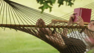 Stock Video Footage of man reading a book in a hammock