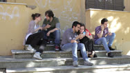 Stock Video Footage of youth of today - Group of friends mobile phone, cell phone, cellular phone