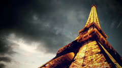 Timelapse view of Eiffel tower in Paris Stock Footage