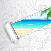 Travel Background for Sea Beach Stock Illustration