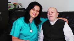 Senior man and nurse Stock Footage
