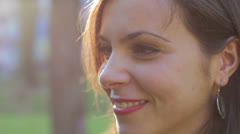 close up of beautiful smiling woman - stock footage