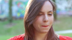 close up of beautiful smiling and  laughing young woman - stock footage