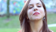 Close up of beautiful smiling and  laughing young woman Stock Footage