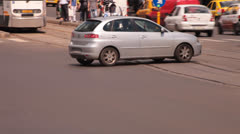 Romanian Police Motor Officer on Patrol Stock Footage