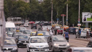 Stock Video Footage of Trams and Traffic in Bucharest Romania
