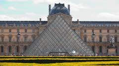 Louvre Museum - Pyramid - Musée du Louvre 1 Stock Footage